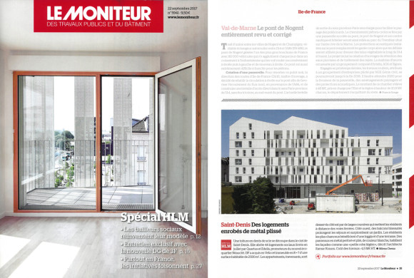 21.09.2017 – Nos logements à Saint Denis en couverture du Moniteur!
