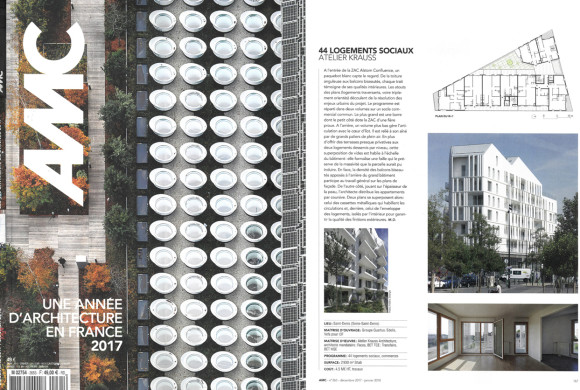 Neaucité hausing units published in the AMC Magazine N° 265 – Year of architecture in France 2017